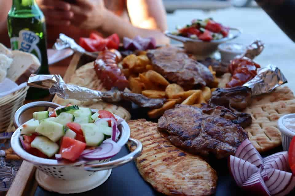 Mixed grill platter at a restaurant in Romania