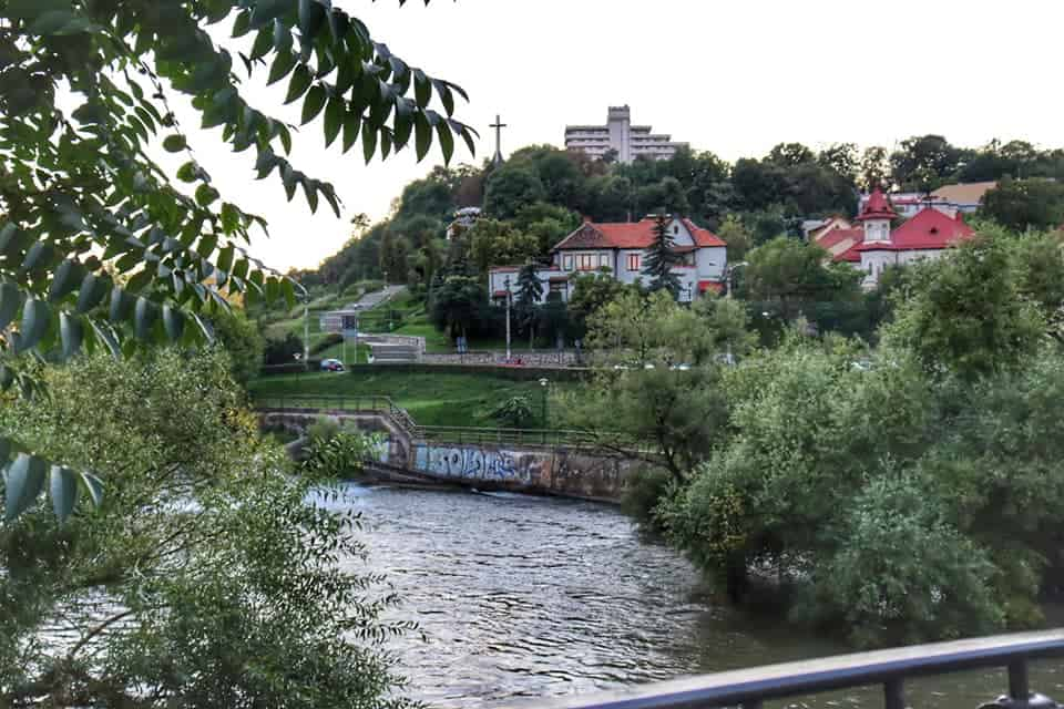 Somes River flowing through Cluj Napoca, Romania