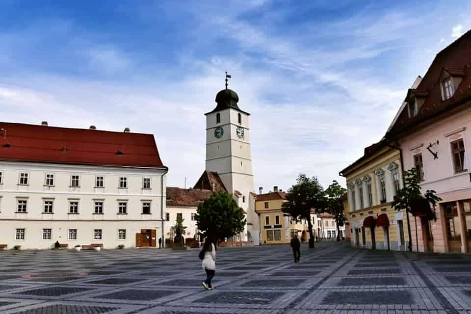 Council Tower in Sibiu seen from Piata Mare, one of the best things to do in Sibiu.