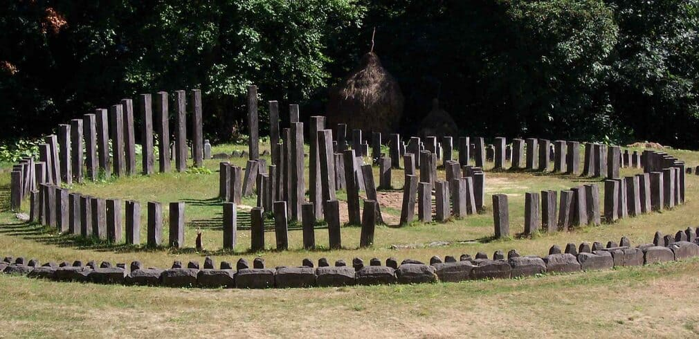 Dacian ruins aka 'Romanian Stonehenge', a number of small, narrow stones arranged in a pattern in a forest clearing in Transylvania, a day trip from Cluj.