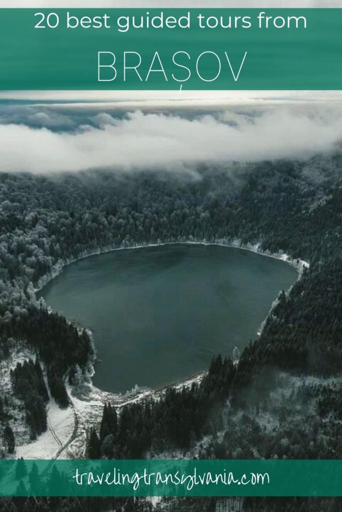 Pinterest Graphic - 20 best guided day tours from Brasov with Sfanta Ana Lake in the image.