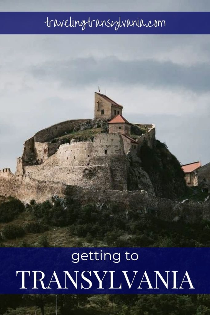 Pinterest graphic: Rupea Fortress with text 'Getting to Transylvania'
