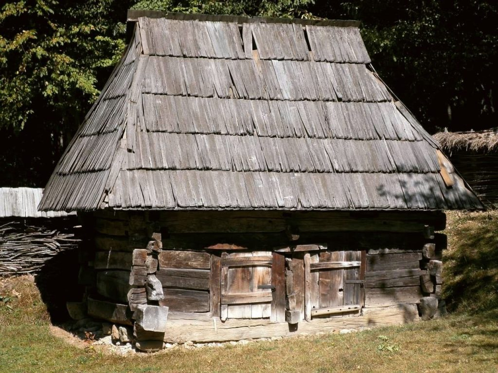 Old wooden hut at the Ethnnographic open air museum in Cluj Napoca, Romania