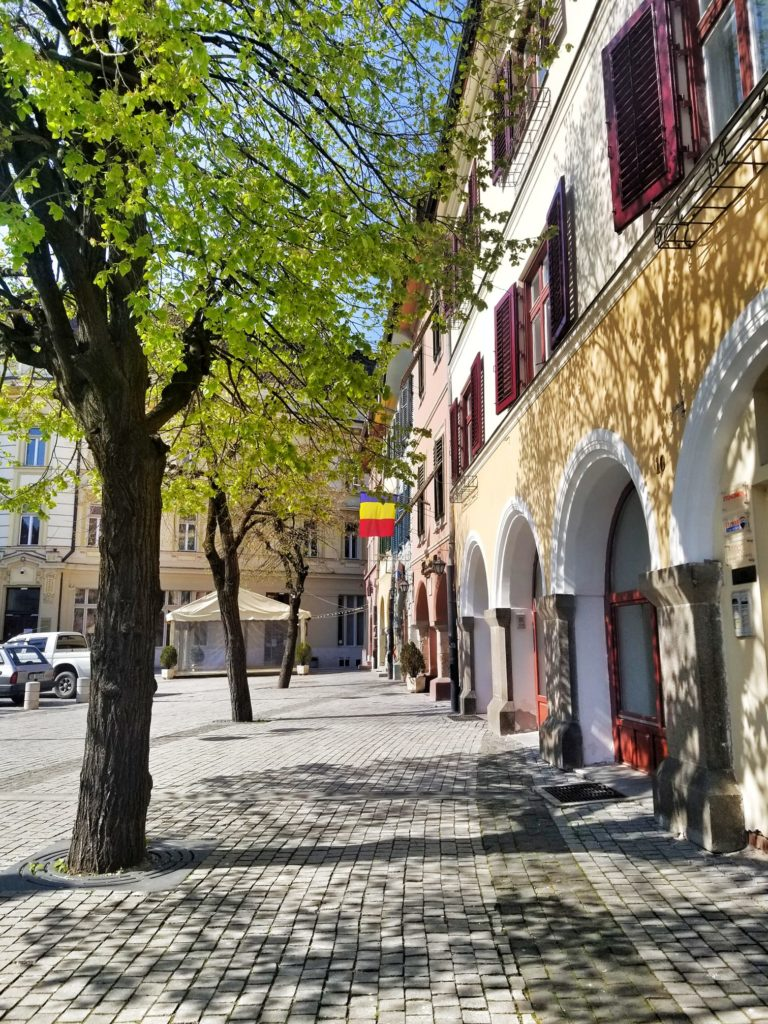 Piata Mica in Sibiu in springtime with budding leaves on the trees.