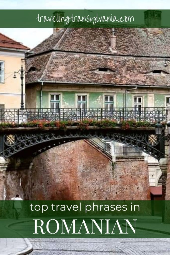 Pin: Romanian Travel Phrases with Sibiu background