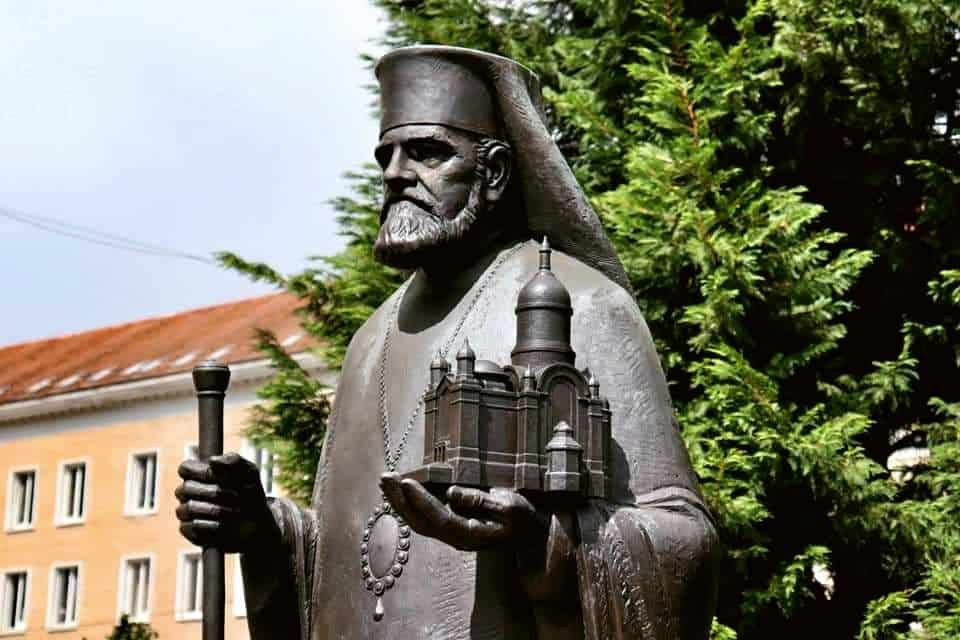 Statue outside the Orthodox Cathedral in Cluj Napoca, Romania