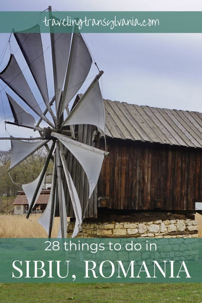 Pinterest graphic with Astra Windmill: Things to do in Sibiu, Romania