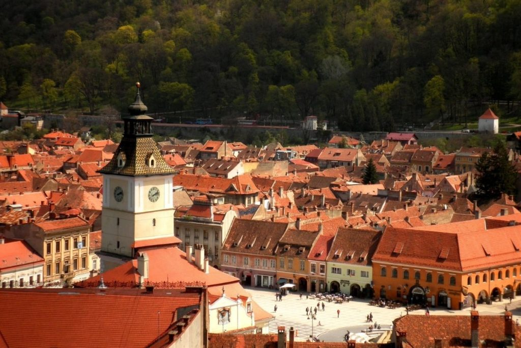Red roofs of Brasov's Old Town seen with Tampa Mountain