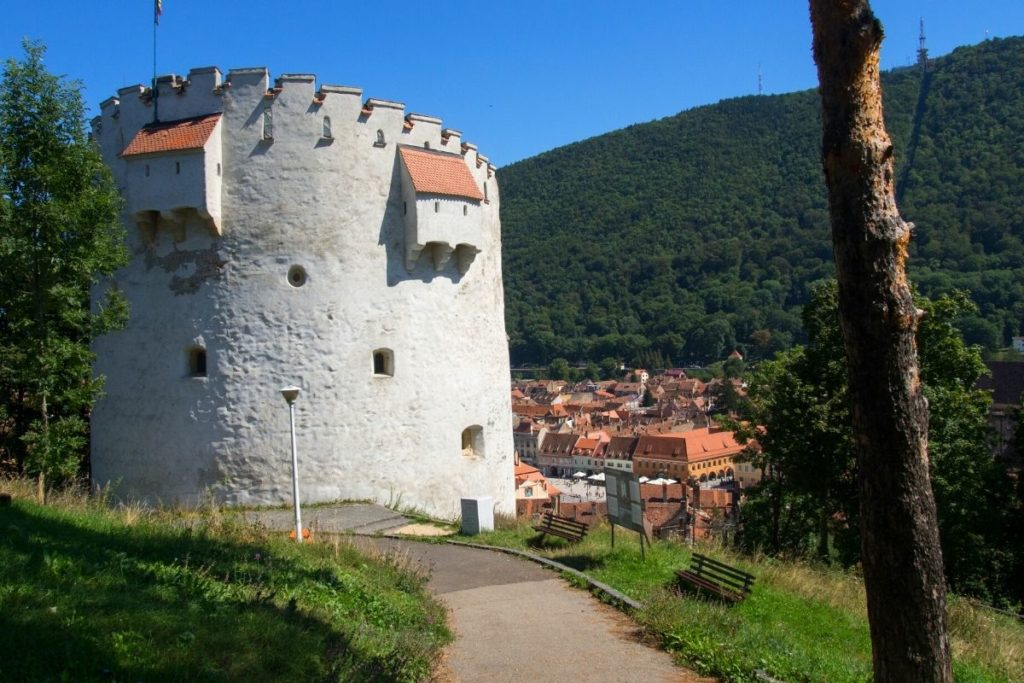 White Tower in Brasov with the city seen in the background beneath Tampa Mountain.