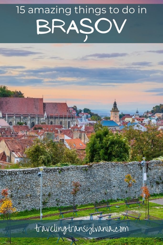Pinterest graphic - Brasov at sunset, Things to do in Brasov.