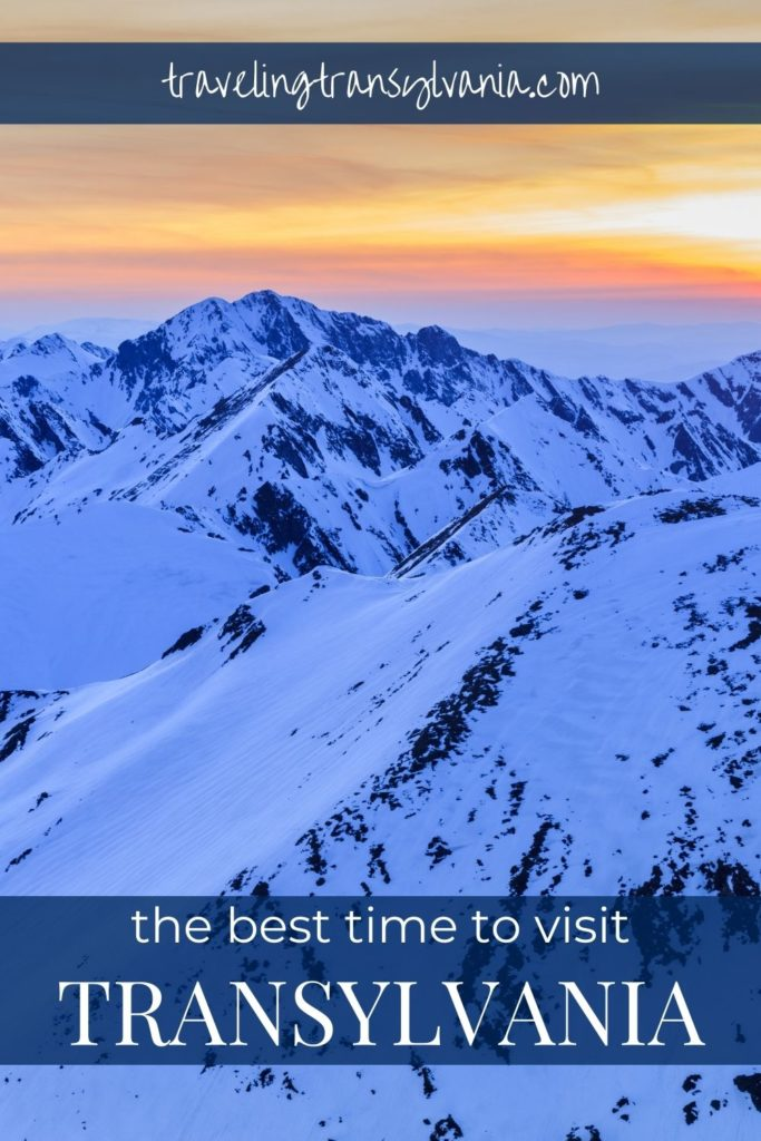 Pinterest graphic - best things to do in Transylvania with photo showing mountains covered in snow during winter.