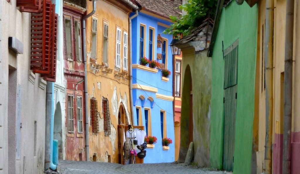 Colorful street to get lost on in Sighisoara, Romania.