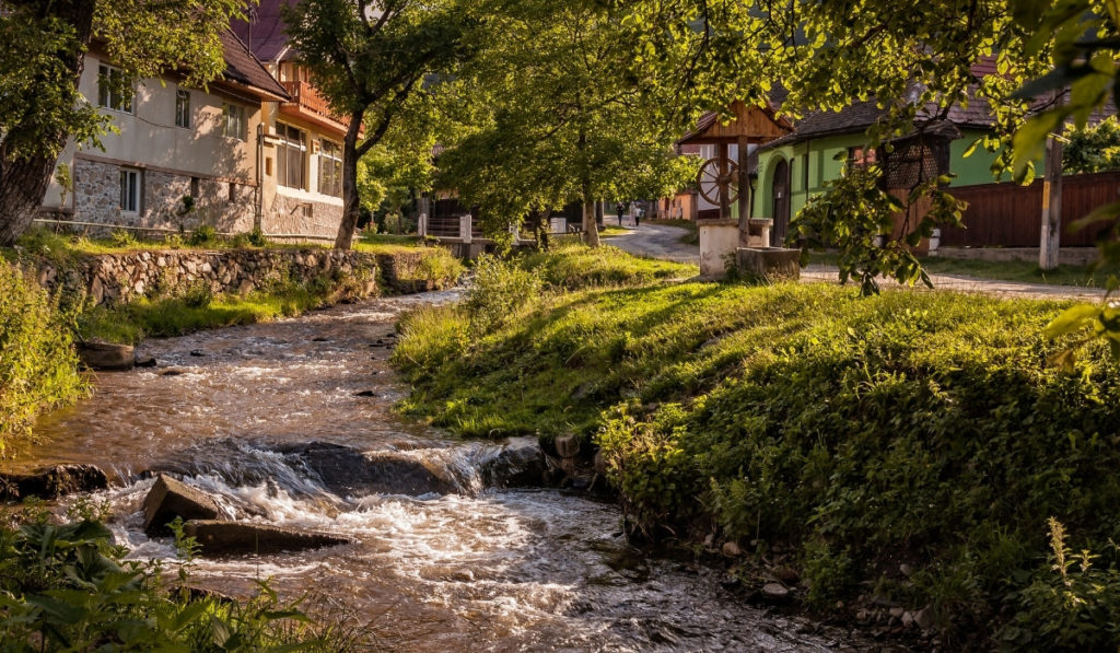 Stream running through the village of Sibiel, nearby to Sibiu and an easy day trip.