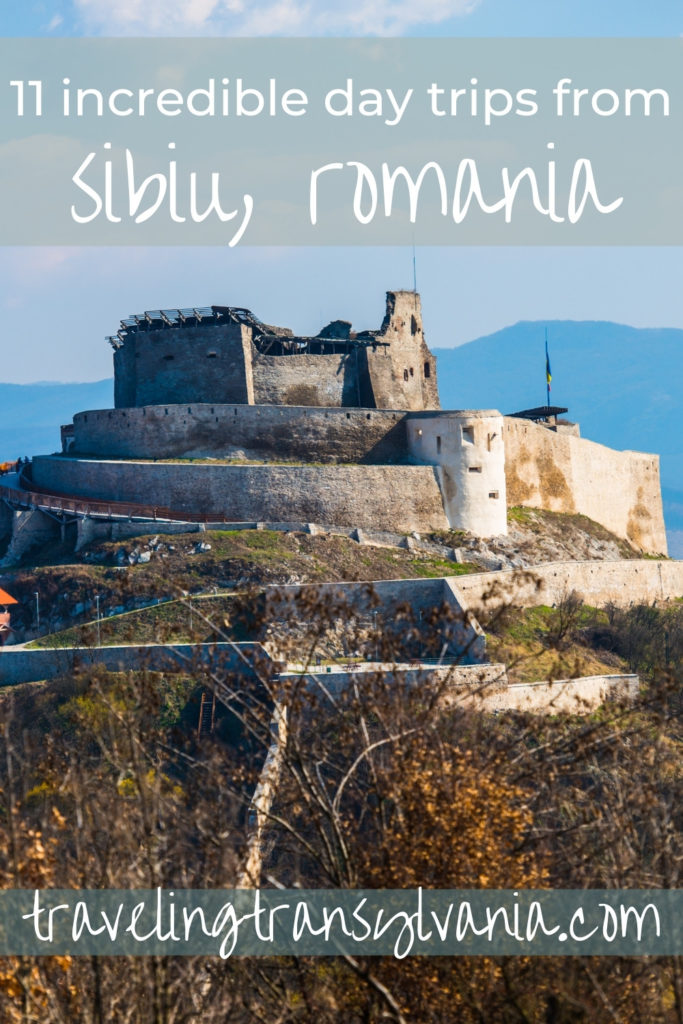 Pinterest graphic depicting Deva Citadel with text '11 incredible day trips from Sibiu'